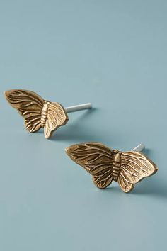 Melody Butterfly Knobs, Set of 2 by Anthropologie in Brown, Knobs Dresser Drawer Knobs, Cabinet Knobs, Drawer Pulls, Hanging Jewelry Organizer, Jewelry Organization, Animal Mugs, Up House, Towel Hooks, Natural Texture