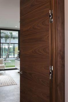 in Walnut with Simonswerk Tectus Concealed Hinges Pooja Room Door Design, Door Design Interior, Interior Exterior, Exterior Doors, Wooden Main Door Design, Modern Wooden Doors, Modern Door, Flush Door Design, Home Office Furniture Design