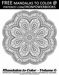 Intricate Mandala Coloring Pages for FREE | The paperback copy is with 50 stunning Intricate Mandala Design that will leave you hours and hours of coloring! Visit http://www.amazon.com/Mandalas-Color-Intricate-Coloring-Advanced/dp/1497344883
