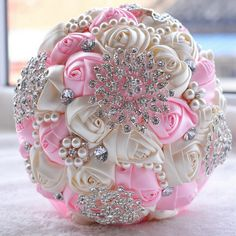 2017 Ivory White Bridal Wedding Bouquet  Pearls