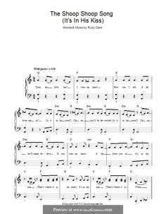 The Shoop Shoop Song (It's in His Kiss): For easy piano (Cher) by Rudy Clark Easy Piano Sheet Music, Song Sheet, Guitar Sheet Music, Piano Music, Shoop Shoop Song, Piano Songs, Kissing Him, Cher, Bible