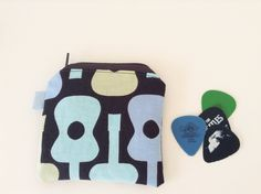 Guitar Coin Pouch - Zippered - Small Pouch - Mini Coin Bag - Guitar Coin Purse - Guitar Pick Pouch - Musician Gift Idea - Michael Miller by BlackcatmeowDesigns on Etsy