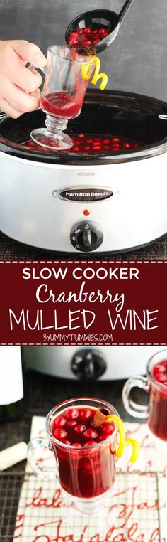 This Slow Cooker Cranberry Mulled Wine is holiday entertainment at its best with Cabernet Sauvignon, apple cider, orange juice, honey, spices and a slash of Brandy. It will disappear fast! Fun Drinks, Yummy Drinks, Yummy Food, Alcoholic Beverages, Best Slow Cooker, Slow Cooker Recipes, Crockpot Recipes, Thanksgiving Recipes, Slow Cooking