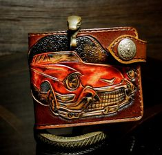 Hand-tooled mens leather wallet with a car by PFLeatherGlass