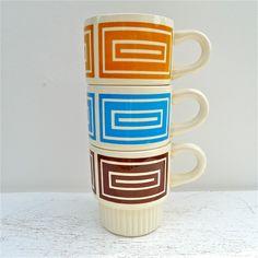Vintage Modern Graphics Stackable Mugs 60's-70's.