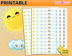 Weather planner stickers for Erin condren - Happy planner - Filofax - organizing stickers - Kiss cut