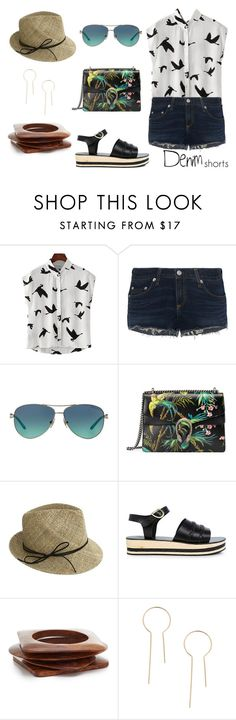 """""""Untitled #28"""" by keitaboo ❤ liked on Polyvore featuring rag & bone, Tiffany & Co., Gucci, Justine Hats, Ancient Greek Sandals, Kenneth Jay Lane, jeanshorts, denimshorts and cutoffs"""