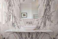 White marble slab bathroom in UK