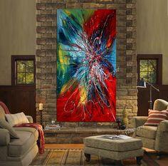 Moderne abstrakte Malerei bunt Acryltechnik auf Leinwand von