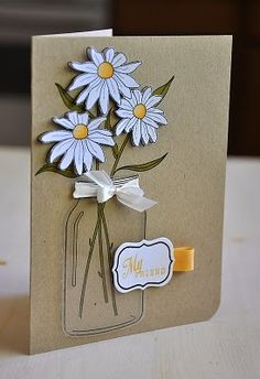 handmade card ... kraft ... lovely mason jar with daisies ...
