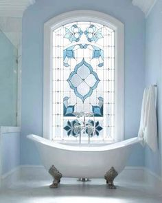 stained glass window, blue, bathroom