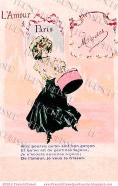 Instant Download French postcard PARIS fashion PINK Hat Box L'Amour a Paris Modes Digital Scan