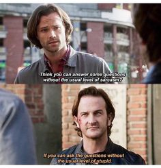 New funny supernatural quotes life ideas Supernatural Imagines, Supernatural Bloopers, Supernatural Tattoo, Supernatural Wallpaper, Supernatural Bobby, Supernatural Funny Quotes, Spn Memes, Richard Speight, Winchester Boys