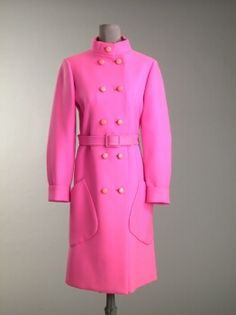 Norman Norell Peppermint Day Coat   American, 1968   Standing collar, shirt sleeves, double breasted, with diagonal patch pockets and topstitched belt