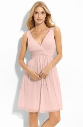 I think in terms of material we need to stick with a matte and then a cotton or chiffon feel. Shiny stiff material is going to look weird with general themes of the wedding Donna Morgan Twist Silk Chiffon Dress Light Pink Bridesmaid Dresses, Bridesmaid Dresses Online, Blush Dresses, Coral Bridesmaids, Bridesmaid Ideas, Wedding Dresses, Silk Chiffon, Chiffon Dress, Figure Flattering Dresses