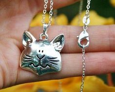 Charm Necklace - .925 Sterling Silver Chain - Cat Face Pendant - Kitty Kitten Lover Chunky Quirky Gift