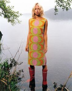 Classic. Marimekko dress with what look like original Nokia boots.