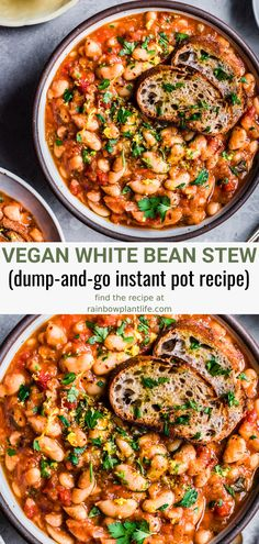Healthy Vegan White Bean Stew (Instant Pot) A dump-and-go Instant Pot recipe that's perfect for those busy weeknights. This Israeli White Bean Stew is great for meal prep and is freezer-friendly. It is Vegan and Gluten-Free. Easy Soup Recipes, Vegan Dinner Recipes, Vegan Dinners, Veggie Recipes, Whole Food Recipes, Healthy Recipes, Crockpot Vegan Meals, Vegan Recipes One Pot, Vegan Desserts