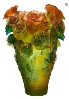 Daum Art-Glass Crystal Rose Passion Magnum Vase - Green and Orange - Limited Edition of Visit addisoncollection. Art Nouveau, Art Of Glass, Glass Vase, Black And White Vase, White Bowl, Vase Cristal, Vases, Glas Art, Crushed Glass