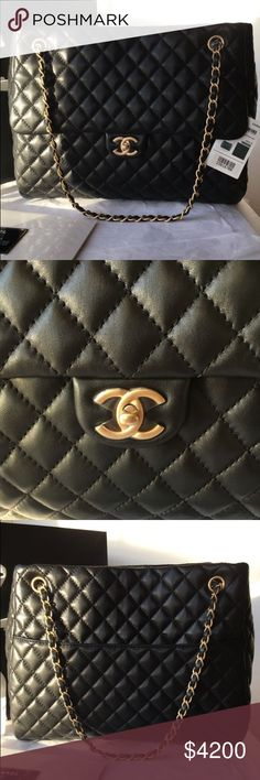 0f8a40ba130af0 Chanel Classic Jumbo Maxi Flap Lambskin Tote Bag Brand New 100% Authentic  Chanel Classic CC Fluffy Jumbo Maxi Flap Bag GST Shopper Tote Lambskin  CHANEL Bags ...