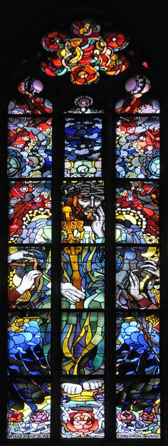 Stained glass window by Józef Mehoffer of Wawel cathedral, Kraków_ Poland The Royal Archcathedral Basilica of Saints Stanislaus and Wenceslaus on the Wawel Hill, also known as the Wawel Cathedral, is a Roman Catholic church located on Wawel Hill in Kraków, Poland.
