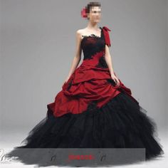 Gothic Red Black Wedding Dress Formal Bridal Gown A Line Tulle One Shoulder Ebay