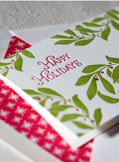 Happy Holidays letterpress cards with lined envelopes