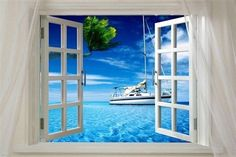 Window onto OCEAN with boat SCENIC poster 24X36 sails PALM TREES hot