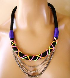 Neon Rope Tribal Necklace Statement Necklace Black Rope by vess65, $27.50