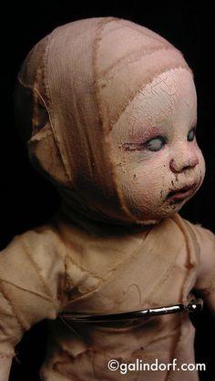 Altered dead baby zombie doll-Mummy's Boy. $150.00, via Etsy.