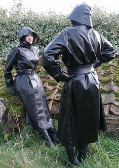 Well dressed for a walk in their rubber mackintoshes