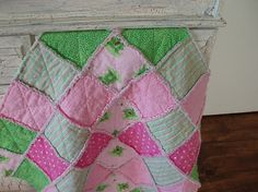 Pink and Green baby girl rag quilt