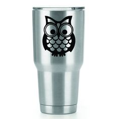 Mr. Owl   3 Inch Vinyl YETI Decal   Sticker   White Black Red Blue Pink And Hot Pink by CastlePeakGraphics on Etsy