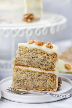 This easy banana cake is sweet, super moist, soft and perfect! It literally melts in your mouth and it's frosted with cream cheese and spiced with cinnamon. The perfect way to use up leftover bananas! Easy Cake Recipes, Bread Recipes, Soup Recipes, Dessert Recipes, Lasagna Recipes, Desserts, Pizza Recipes, Vegan Recipes, Dinner Recipes