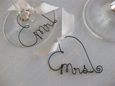 Mr and Mrs Wine Glass Charms Personalized Wedding by kraze4paper, $15.00