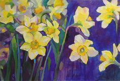Emerging daffodils - Louisiana Edgewood Art Paintings by Louisiana artist Karen Mathison Schmidt
