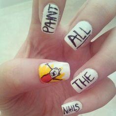 Meme Nail Art. Creative idea! I bet the nail artists at LA Nails or Natural Nails in Shawnee Mall would love to do this.