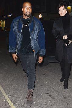 Kanye West chooses a Black outfit: Balenciaga Jacket and