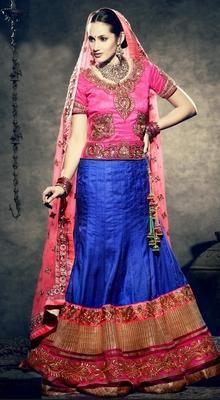 Blue/Pink Manipuri Silk Kalidar Lehenga Choli #lehenga choli #Gagra choli