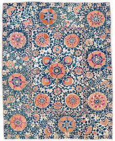 Lot 10. A Shakhrisyabz Suzani silk embroidery, Uzbekistan, 19th century. 245 x 200 cm. Estimate10000 EUR