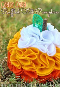 diy candy corn ruffled felt pumpkin, crafts, halloween decorations, how to, seasonal holiday decor Diy Halloween Decorations, Halloween Crafts, Holiday Crafts, Fall Decorations, Halloween Ideas, Halloween Felt, Seasonal Decor, Happy Halloween, Haunted Halloween