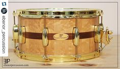#Repost @ebenor_percussion with @repostapp.  Check out this amazing snare we have made we are very proud of this project.  14x7 Snare | Birds eyes maple | Black Walnut inlays | Brass Hardware  #ebenorpercussion #evansdrumheads @evansdrumheads #customdrums #customsnare #snaredrum #madeincanada #quebec #birdseyesmaple #woodporn #woodworker #drumporn by drummers_corner_group