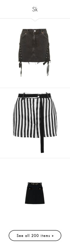 """""""Sk"""" by feelin-q ❤ liked on Polyvore featuring skirts, washed black, high waisted mini skirt, lace skirt, high rise skirts, lace up skirt, mini skirt, mini skirts, bottoms and black white stripe skirt"""