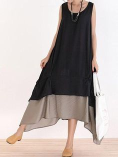 Sleeveless - Made For You Flayered Midi Dress Best Picture For skirt outfits For Your Taste You are looking fo - Dress Shirts For Women, Clothes For Women, Boho Fashion, Fashion Dresses, Bridal Lehenga Collection, Bohemian Mode, Dress Sewing Patterns, Linen Dresses, Designer Dresses