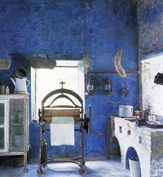 beautiful rustic blue walls