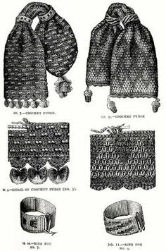 Victorian (Civil War) Crocheted Miser's bag/ purses. If anyone wants to try this themselves, visit these websites for a crochet pattern: http://crochetpatternsonly.blogspot.com/2005_08_24_archive.html   or also http://windrosefiberstudio.blogspot.com/2010/06/tasseled-misers-purse-crochet-along.html