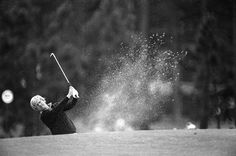 Jack Nicklaus hits from a trap during his practice round for the Masters at Augusta, Ga., April 9, 1975.#golf