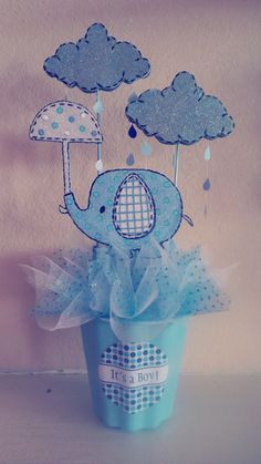 "Elephant ""Umbrellaphant"" Baby Shower Centerpiece"