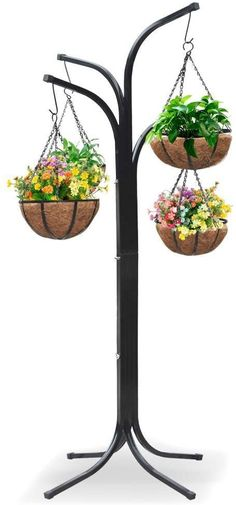 Yaheetech Tree with 4 Hanging Baskets Patio Stand Garden Plant Outdoor Metal Plant Stands, Hanging Plants Outdoor, Plants For Hanging Baskets, Patio Plants, Diy Hanging, Cool Plants, Hanging Planters, Indoor Plants, Hanging Basket Stand