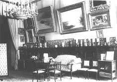 The Pallisander or Rosewood Drawing Room; in the left-hand corner on the floor can be seen Alexandra's special chest containing her personal memorabilia.... Alexander Palace